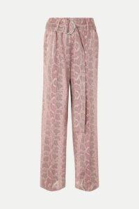 Stand Studios - Alaina Belted Snake-effect Coated Faux Leather Wide-leg Pants - Pink