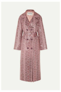 Stand Studios - Snake-effect Coated Vegan Leather Trench Coat - Pink