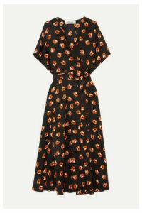 Diane von Furstenberg - Kelsey Floral-print Silk-blend Crepe De Chine Wrap Dress - Black