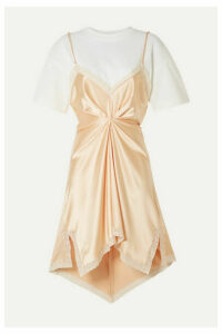 Alexander Wang - Layered Lace-trimmed Silk-charmeuse And Cotton-jersey Mini Dress - Peach