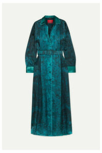 F.R.S For Restless Sleepers - Belted Printed Hammered-satin Maxi Dress - Teal