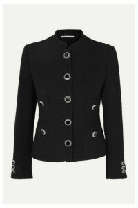 Alessandra Rich - Button-embellished Wool-blend Tweed Jacket - Black
