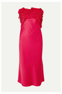 Jason Wu Collection - Strapless Ruffled Satin-crepe Midi Dress - Bright pink