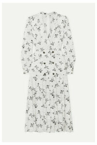 Alessandra Rich - Button-embellished Silk-jacquard Midi Dress - White