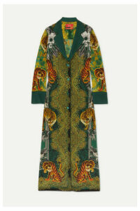 F.R.S For Restless Sleepers - Nottie Printed Silk-twill Maxi Dress - Green