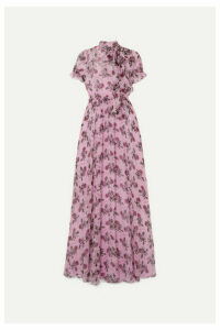 Valentino - Shirred Floral-print Silk-chiffon Gown - Pink
