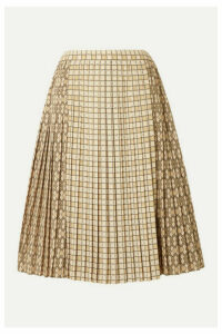 Burberry - Pleated Printed Satin Midi Skirt - Beige