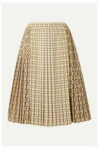 Burberry - Pleated Printed Satin Midi Skirt - Beige