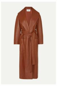 Salvatore Ferragamo - Belted Textured-leather Wrap Coat - Orange