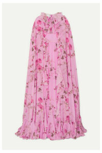 Giambattista Valli - Cape-effect Ruffled Floral-print Silk-georgette Gown - Pink