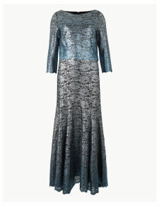 M&S Collection Foil Print 3/4 Sleeve Maxi Fit & Flare Dress