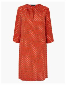 M&S Collection Ditsy Print 3/4 Sleeve Shift Dress