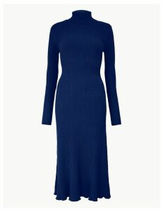 M&S Collection Ribbed Fit & Flare Knitted Dress