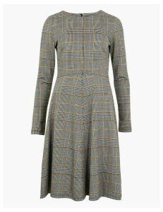 M&S Collection Multi Checked Fit & Flare Midi Dress