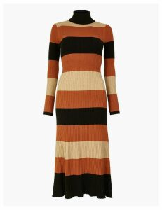 M&S Collection Striped Ribbed Fit & Flare Knitted Dress