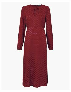 M&S Collection Jacquard Spot Fit & Flare Midi Dress