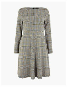M&S Collection PETITE Checked Fit & Flare Dress