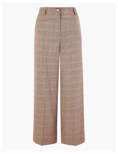 M&S Collection Checked Wide Leg 7/8th Trousers