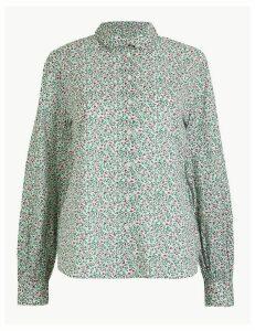Per Una Pure Cotton Ditsy Floral Peplum-Back Shirt