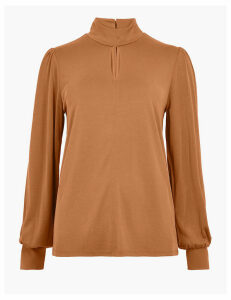 M&S Collection Keyhole Long Sleeve Top