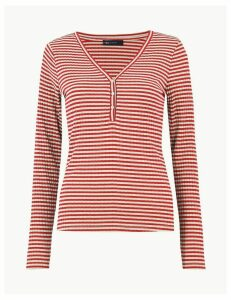 M&S Collection Striped V Neck Fitted Henley Top