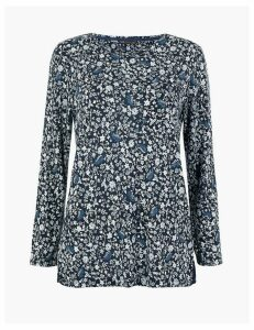 M&S Collection Floral Print Longline Long Sleeve Top