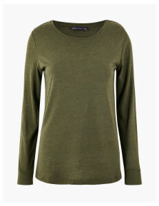 M&S Collection Linen Blend Regular Fit T-Shirt