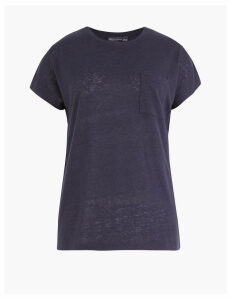 M&S Collection Linen Blend Pocket Detail Relaxed T-Shirt