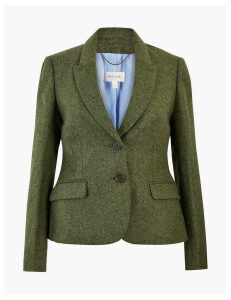 Per Una Pure Wool Tweed Herringbone Blazer