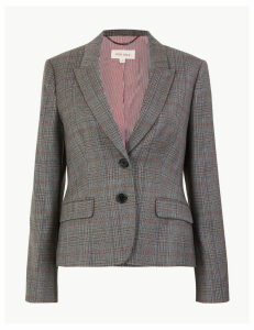 Per Una Wool Blend Checked Slim Fit Blazer