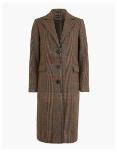 M&S Collection PETITE Checked Tailored Coat