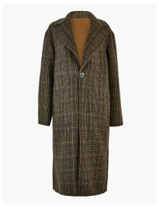 Autograph Wool Checked Reversible Overcoat