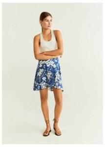Ruffle flower print miniskirt