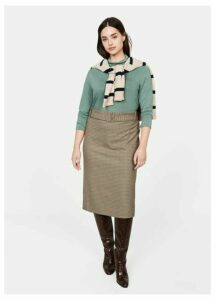Belt checked skirt