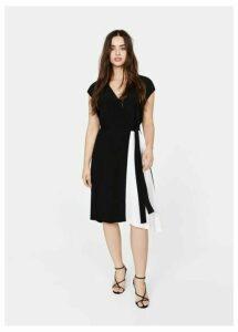 Two-tone wrap dress