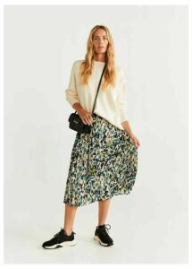 Camo-print pleated skirt