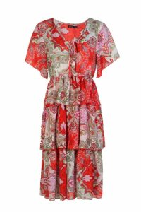 Womens Layered Paisley Print Midi Dress - 12, Red