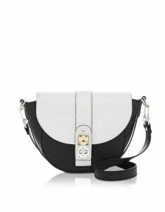 Proenza Schouler Designer Handbags, Optic White/Black Leather PS11 Small Saddle Bag