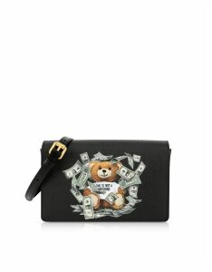 Moschino Designer Handbags, Black Dollar Teddy Bear Patch Shoulder Bag