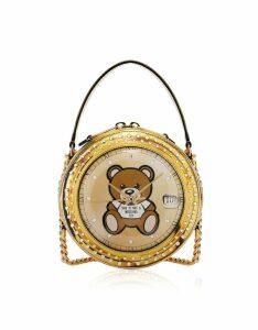 Moschino Designer Handbags, Clock w/Moschino Toy Gold Round Bag