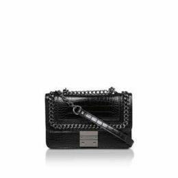 Carvela Bailey Qltd Chn Shldr Bag - Black Croc Effect Chain Shoulder Bag