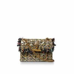 Kurt Geiger London Mini Tweed Kensington - Gold Coated Tweed Shoulder Bag