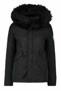 Womens Luxe Faux Fur Sporty Parka - black - 14, Black