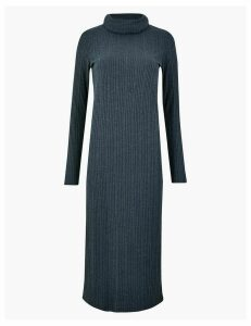 M&S Collection Cowl Neck Ribbed Midi Shift Dress