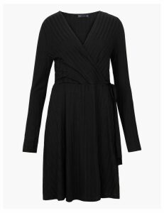 M&S Collection Ribbed Fit & Flare Wrap Dress