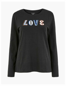 M&S Collection Pure Cotton Love Straight Fit T-Shirt