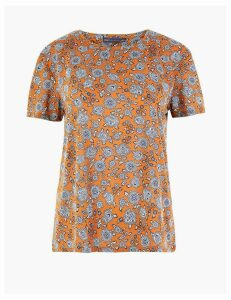 M&S Collection Floral Relaxed Fit T-Shirt