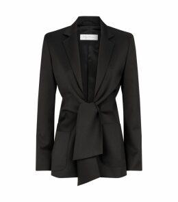 Tie-Front Wool Blazer