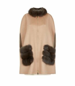 Cashmere Sable Fur Trim Cape