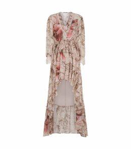 V-Neck Floral Print Gown